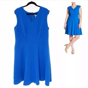 22W 3X▪️BLUE TEXTURED FIT & FLARE DRESS Plus Size